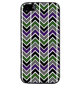 Printvisa Multicolour Zigzag Pattern Back Case Cover for Apple iPhone 4S