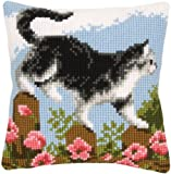 Black & White Cat Cross Stitch Cushion Kit - contains everything you need to complete your 40 x 40cm cushion front