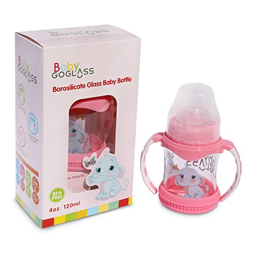 Big Save! #1 Top Rated on Amazon - GoGlass Borosilicate Glass Baby Bottle 4 oz BPA Free With Extra N...