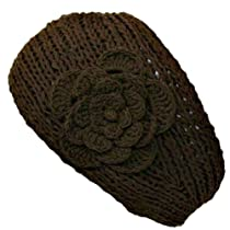 Luxury Divas Brown Hand Made Knit Headband With Flower Detail