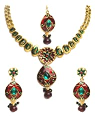 Shining Diva Elegant Kundan Necklace Set With Maang Tika For Women