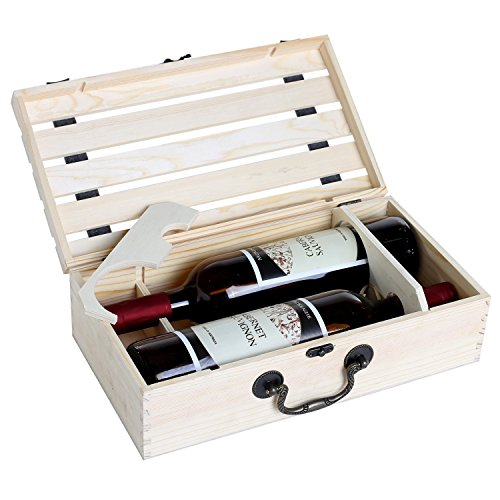 Handmade Vintage Natural Pine Wood Crate 2 Wine Bottle Travel Storage Box Carrying Display Case