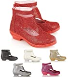NEW GIRLS KIDS WEDGE HEEL BRIDESMAID WEDDING SHOES GLITTER PARTY SANDALS