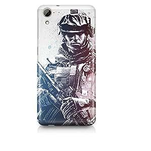 Motivatebox - HTC Desire 820 Back Cover - Soldier Sketch Polycarbonate 3D Hard case protective back cover. Premium Quality designer Printed 3D Matte finish hard case back cover.