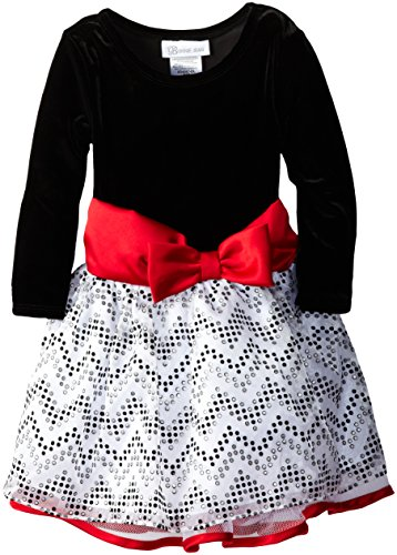 Bonnie Jean Little Girls' Chevron Foil Organza Drop Waist, Black/White, 2T