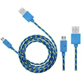 Wayzon Blue Strong Nylon Braided Unbrakable High Speed Sync Micro USB Data Cable Lead Charger For Samsung Galaxy Tab 3 10.1 P5200 / P5210 / P5220