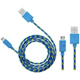Wayzon Blue Strong Nylon Braided Unbrakable High Speed Sync Micro USB Data Cable Lead Charger For HTC 7 Mozart / Pro / Surround / Trophy / Desire / HD2 / S