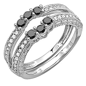 0.60 Carat (ctw) 14k White Gold Round Black And White Diamond Ladies Anniversary Wedding Band Enhancer Guard (Size 6.5)