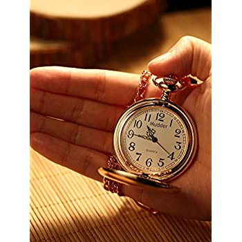 Mudder Classic Smooth Vintage Steel Pocket Watch For Men, Rose Golden