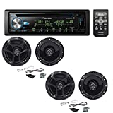 Pioneer DEH-X6900BT Single DIN Bluetooth In-Dash CD/AM/FM Car Stereo with (2 PAIRS) JVC CS-J620 300W 6-1/2