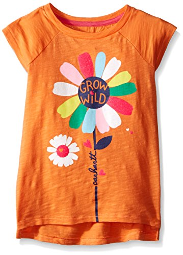 Carhartt Little Girls Grow Wild Slub Tee, Nectarine, 5