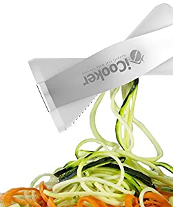 iCooker Spiralizer Spiral Slicer [FREE Stainless Steel Peeler + Cleaning Brush + Recipe Guide + Carry Bag] Professional Vegetable Spiral Cutter For Veggie Zucchini Pasta - Best Carrot Shredder