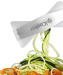 iCooker Spiralizer Spiral Slicer [FREE Stainless Steel Peeler + Cleaning Brush + Recipe Guide + Carry Bag] Professional Vegetable Spiral Cutter For Veggie Zucchini Pasta - Best Carrot Shredder