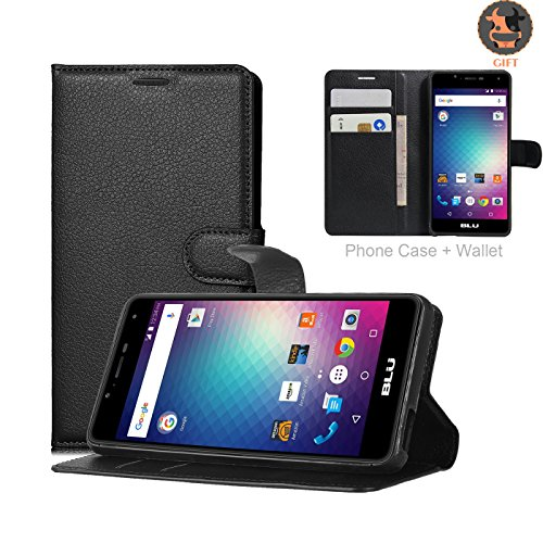 BLU R1 HD Case, Ultra Slim Stand Flip Wallet Case with Built-in Card Slots, UMsky Premium Litchi Stria PU Leather Wallet Cover Case Credit Card Holder, Flip Cover Skin (Black)