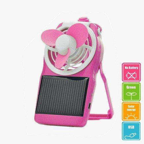 Greenhouse Decreasing Solar Energy Panel Portable Fan Battery Free W/ Usb Pink