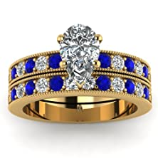buy 1.30 Ct Pear Shaped Diamond & Blue Sapphire Bridal Ring Pave Set Yellow Gold Gia (H Color,Si1 Clarity)