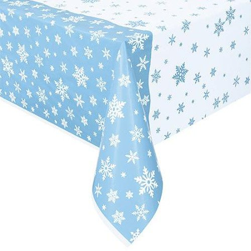 "Snowflake Holiday Plastic Tablecloth, 84"" x 54"""