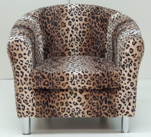 BROWN LEOPARD ANIMAL PRINT TUB CHAIR WITH CHROME LEGS