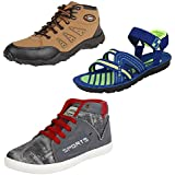 Earton Men Combo Pack Of 3 Sports Shoes With Casual Shoes & Sandals