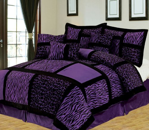 11 Piece King Safari Purple And Black Bed In A Bag W/600Tc Cotton Sheet Set front-104866