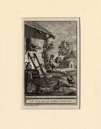Antique Print-FABLES-COCK- GUINEA-FOWL-Lafontaine-1758