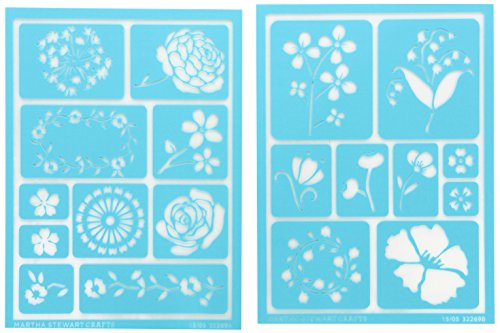 "Plaid:Craft  Martha Stewart Adhesive Stencils 2 Sheets/Pkg-Blossoms 5.75""X7.75"" 19 Designs - 1"