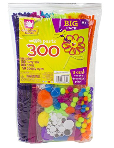 Creative-Hands-by-Fibre-Craft-300-Piece-Assorted-SmART-Parts-Arts-and-Crafts-No-Scissors-or-Glue-Required-For-Ages-3-and-Up