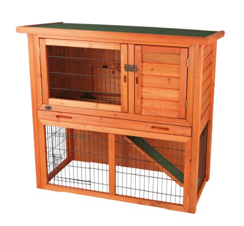 Simple rabbit hutch with 2 levels glazed pine for Simple rabbit hutch