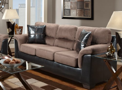 Roundhill Furniture Laredo 2 Toned Sofa And Loveseat Living Room Set Chocolate Brown Sets Sets