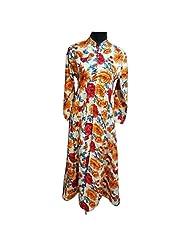 Off White And Orange Raw Silk Designer Party Wear Kurti Semi Stitched
