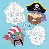 Lot de Masques Pirates à colorier - Idéal pour les déguisements de Pirates...
