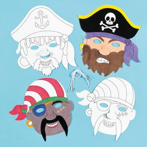 Lot de Masques Pirates à colorier - Idéal pour les déguisements de Pirates