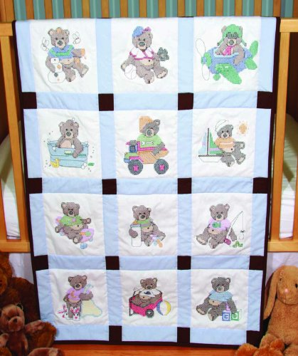 Fairway 92310 Baby Quilt Block, Cross Stitch Boy Bear Design, Twelve Blocks, White (Cross Stitch Quilt Blocks compare prices)