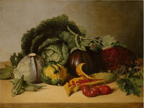 High Quality Polyster Canvas ,the Amazing Art Decorative Canvas Prints Of Oil Painting 'James Peale-Still Life Balsam Apples And Vegetables,1820s', 30x40 Inch / 76x101 Cm Is Best For Powder Room Gallery Art And Home Decoration And Gifts