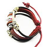 Real Spark Girls Tribal Style Double Religious Alloy Tube Strands Red Leather Cord Flower Beaded Wrap Bracelet Pink