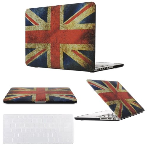 "Easygoby 2 In 1 Retina 15-Inch Vintage Union Jack Rubber Coated Hard Case For Apple Macbook Pro 15.4"" With Retina Display (A1398) Shell Cover + Transparent Keyboard Cover - Flag Of Uk"