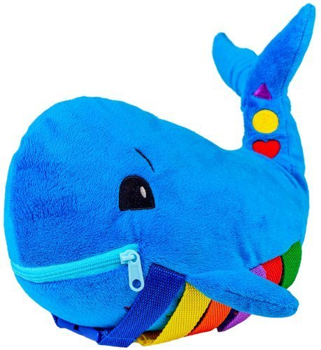 BUCKLE-TOY-Blu-Whale-Toddler-Early-Learning-Basic-Life-Skills-Childrens-Plush-Travel-Activity