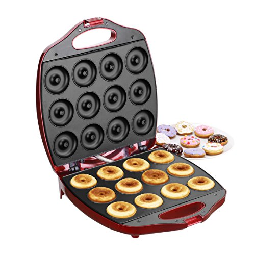 VonShef Deluxe 12 Hole Electric Mini Donut Maker Snack Machine, Red