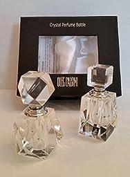 Oleg Cassini Crystal Perfume Bottles Cubic - Set of 2