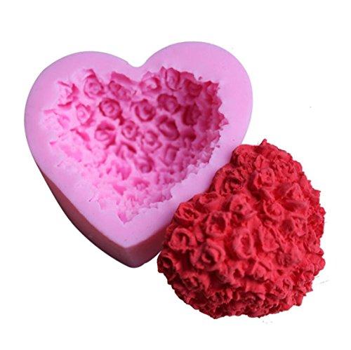 Incendemme Bake House Moule a Gateau / Chocolat / Glace / Gelee Forme Coeur Rose 3D Moule en Silicone Antiadhesif Parfait Outil Fondant Mould for Cake Decoration de Gateau