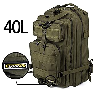 Eyourlife 40L RFID Blocking Bag,Sport Outdoor Military Rucksacks Tactical Backpack Camping Hiking Trekking Bag Army Green