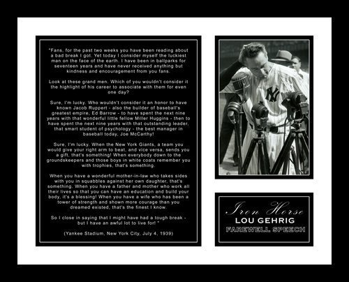 All About Autographs AAA-58007 Lou Gehrig New York Yankees MLB Framed Photograph with Farewell Retirement Speech at Yankee Stadium