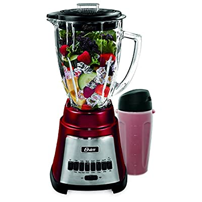 Oster Exact Blend 300 Metallic Red Blender With Smoothie Sup for Drinks On-TheGo