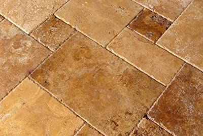 Gold / Yellow Travertine Brushed & Chiseled Versailles Pattern Tile