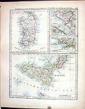 MAPPA 1897 DELL'OGGETTO D'ANTIQUARIATO DI JOHNSTON SARDEGNA SAN MARINO ROMA NAPOLI ITALIA SICILIA MALTESE