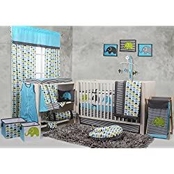 Bacati Elephants Crib Set with Bumper Pad, Aqua/Lime/Grey
