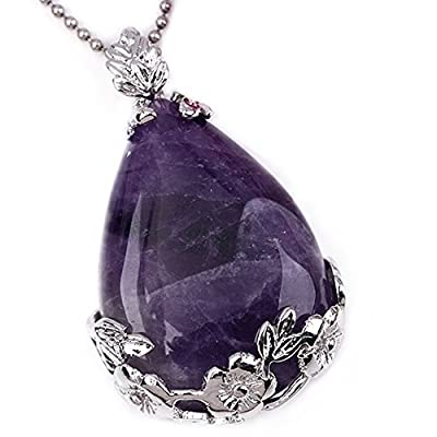 Top Plaza 1x Natural Amethyst Waterdrop Dangle Bead Pendant for Necklace, Purple Crystal Pendant