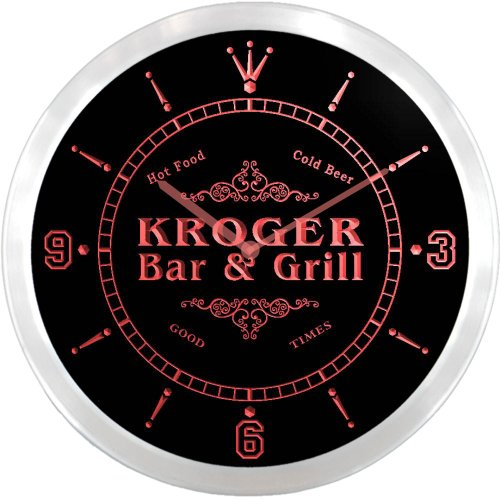 ncu24520-r-kroger-family-name-bar-grill-cold-beer-neon-sign-led-wall-clock