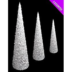 Pack Of 3 Various Size - White & Silver Glitter & Pearl Bead Cone Trees