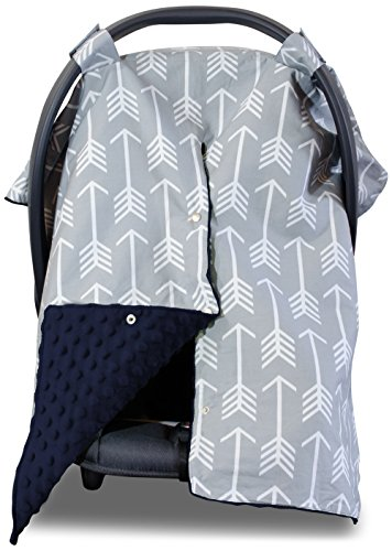 Premium Carseat Canopy Cover and Nursing Cover- Large Arrow Pattern w/ Dark Navy Minky | Best Infant Car Seat Canopy, Boy or Girl | Cool/ Warm Weather Cover | Baby Shower Gift for Breastfeeding Moms (Infant Boys Car Seat Covers compare prices)